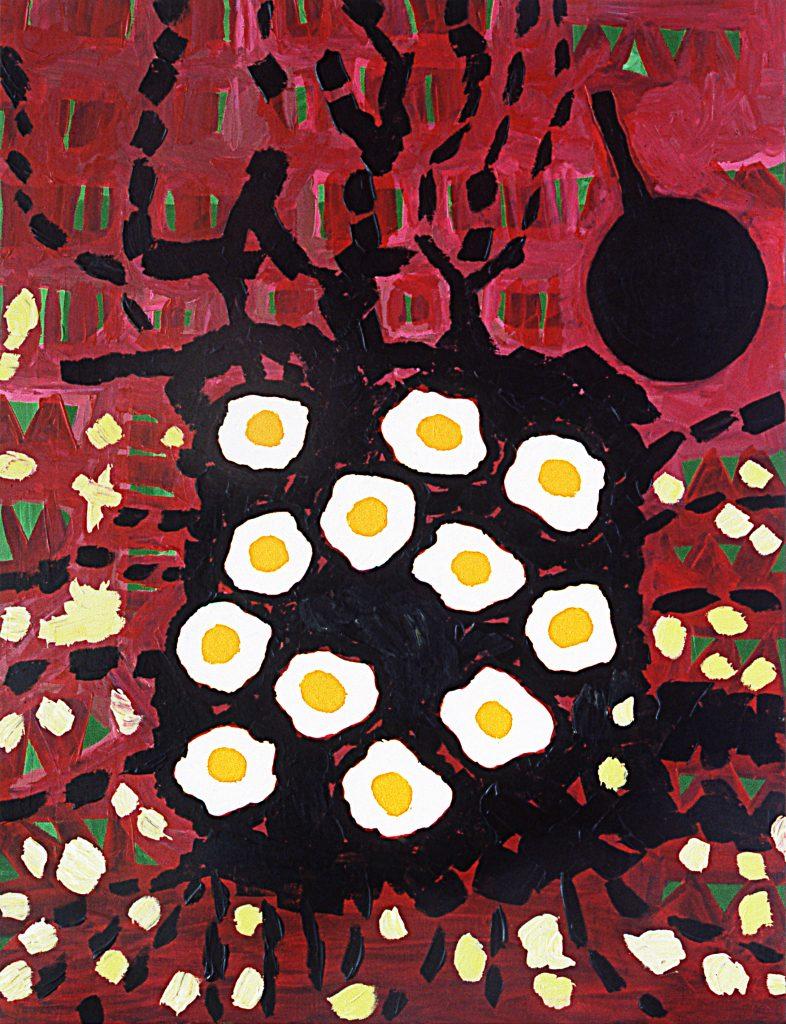 Doce huevos fritos con su madre